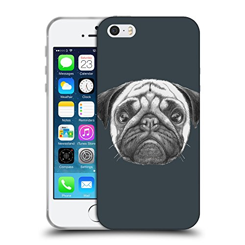 GoGoMobile Coque de Protection TPU Silicone Case pour // Q05440606 Chien pug Arsenic // Apple iPhone 5 5S 5G SE