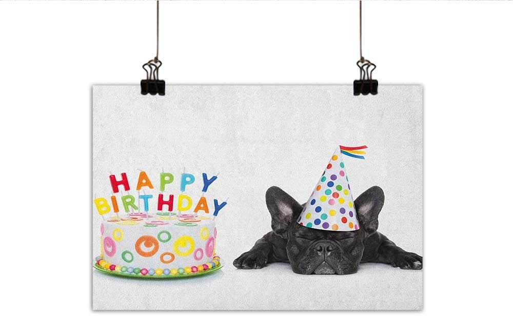 Kids Birthday 10x15 FT Backdrop Photographers,Sleepy French Bulldog Party Cake with Candles Cone Hat Celebration Image Background for Baby Shower Bridal Wedding Studio Photography Pictures Multicolor