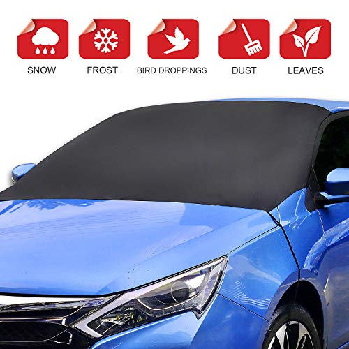 "ALTITACO Car Windshield Snow Cover, Frost Guard Protector, Magnetic Windshield Snow Frost Ice Cover Sunshade Snow Covers with Elastic Hooks Fits Most Car, SUV, Truck, Van or Automobile with 83""x49.2"""