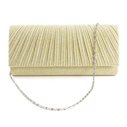 Honeycomb Designed Sparkle Glitter Evening Clutch Bag Bridal Wedding Handbag (Evening Sparkle)
