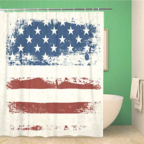rouihot Bathroom Shower Curtain Military American Flag Vintage USA America Patriotic Waving July Polyester Fabric 60x72 inches Waterproof Bath Curtain Set with Hooks (Vintage Patriotic Fabric)