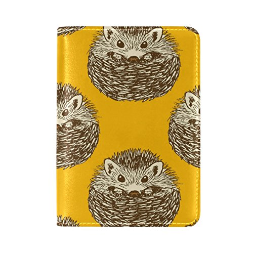 Sunlome Cute Hedgehog Leather Passport Holder Cover Travel Wallet Case