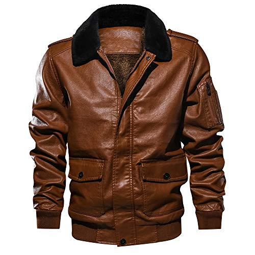 Willsa Mens Jackets, Lapel Fur Collar Leather Pocket Flying Jacket Tactical Outwear (Fur Collar Leather Zippered Jacket)