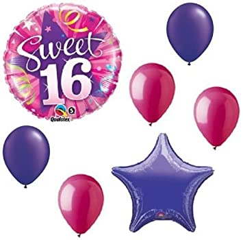 Amazon LoonBalloon Sweet 16 16th Purple Rose Pink Stars 7 Pc
