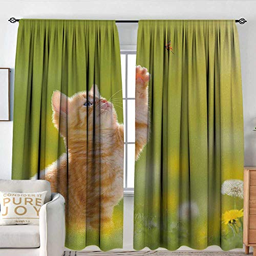 Blackout Curtains for Bedroom Cat,Animal Theme Cat Hunting a Ladybug Nature Grass Dandelions Digital Print,Earth Yellow Light Green,Thermal Insulated Darkening Panels for Cafe Windows 60
