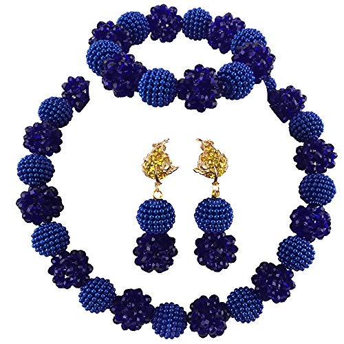 aczuv Simulated Pearl and Crystal Ball Beaded Necklace Jewelry Set African Wedding Beads (Royal Blue) ()