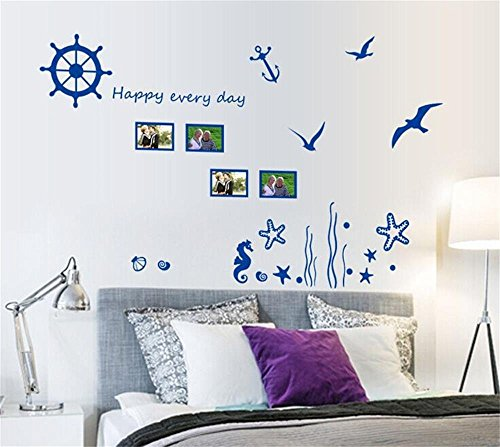 ufengke home Life on Sea Wall Stickers (Blue) Fancy Anchor Sailboat Wheel Starfish Seahorse Seagull With Picture Frames, Words, Letters Removable DIY Vinyl Wall Decal Living Room, Bedroom Mural for $<!--$8.85-->