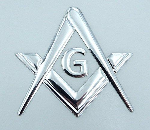 (Mason Masonic Chrome silver decal emblem 3D sticker car bike 2.5