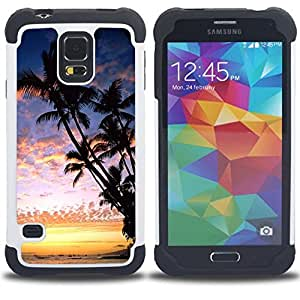 - Hawaii Palm Trees Beach - - Fulland Deluxe Hybrid TUFF Rugged Shockproof Rubber + Hard Case Cover FOR Samsung Galaxy S5 I9600 G9009 G9008V Queen Pattern
