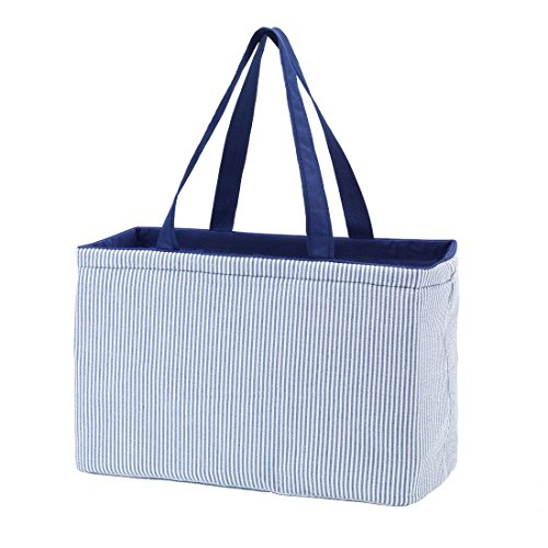 Fashion Print Ultimate Tote - Carry All Organizer Bag - A Tailgate MustCan Be Personalized (Blank, Navy Seersucker) (Tote Ultimate)