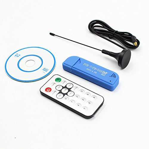 Ocamo USB2.0 FM DAB DVB-T RTL2832U R820T2 RTL-SDR SDR Dongle Stick Digital TV Tuner Remote INFRARED Receiver with Antenna blue