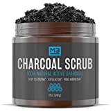 M3 Naturals Activated Charcoal Scrub All Natural Body & Face Skin Care Exfoliating Blackheads Acne Scars Pore Minimizer Reduces Wrinkles Anti Cellulite Treatment 12 OZ
