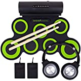 QoQoba Electronic Drum Set for Kids | Adult Beginner Pro MIDI Musical Instrument Drum Practice Pad Kit Incl. Foldable Headphone | Drum Sticks | Great Holiday Birthday Gift for Kids Drum Set (GREEN)