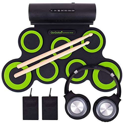 QoQoba Electronic Drum Set for Kids | Adult Beginner Pro MIDI Drum Kit Practice Pad Incl. Foldable Headphone | Drum Sticks | Builtin Speaker-Battery | Great Holiday Birthday Gift for Kids Drum Set