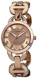 Akribos XXIV Women's AK699RG Lady Diamond Swiss Quartz Rose-tone and Bone Bracelet Watch