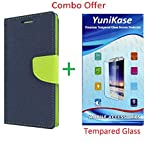 YuniKase (COMBO OFFER) for Moto E3 Power / Moto E3 (3rd gen) Wallet Flip Cover + Premium Tempered Glass Screen Protector - (Blue,Green)