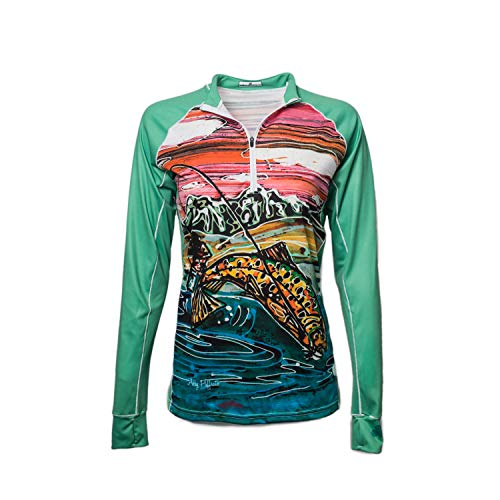 Bold Babe Women's Sun Protective Long Sleeve Zip Neck - SPF Clothing Perfect for Enjoying The Outdoors - Tight Lines (Small) (Long Ladies Tee Sleeve Babe)