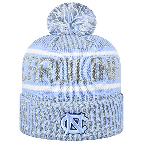 Top of the World Men's NCAA Glacier Cuffed Knit Beanie Pom Hat-North Carolina Tar Heels