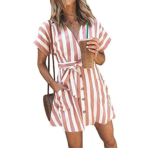 OEUVRE Women V Neck Short Sleeve Wrap Tie Waist Button Down Shirt Dress Striped Pocket Dress with Belt Pink M