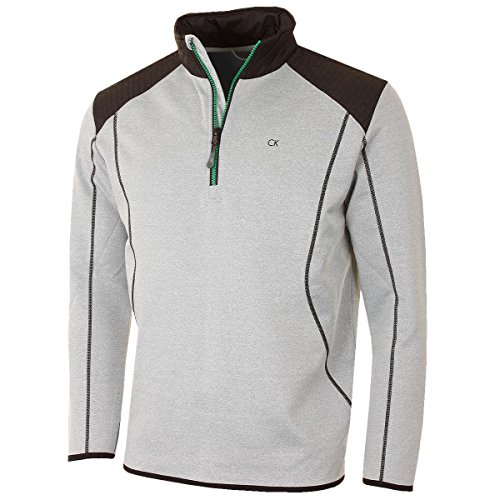 Calvin Klein Golf Men's Fuel Tech Half Zip Pullover - US L - Silver - Fuel Golf