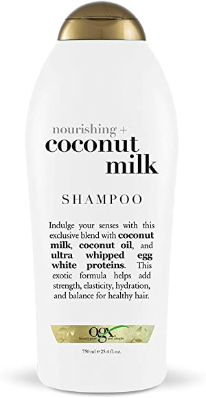 OGX Nourishing + Coconut Milk Moisturizing Shampoo for Strong & Healthy Hair, with Coconut Milk, Coconut Oil & Egg White Protein, Paraben-Free, Sulfate-Free Surfactants, 25.4 floz