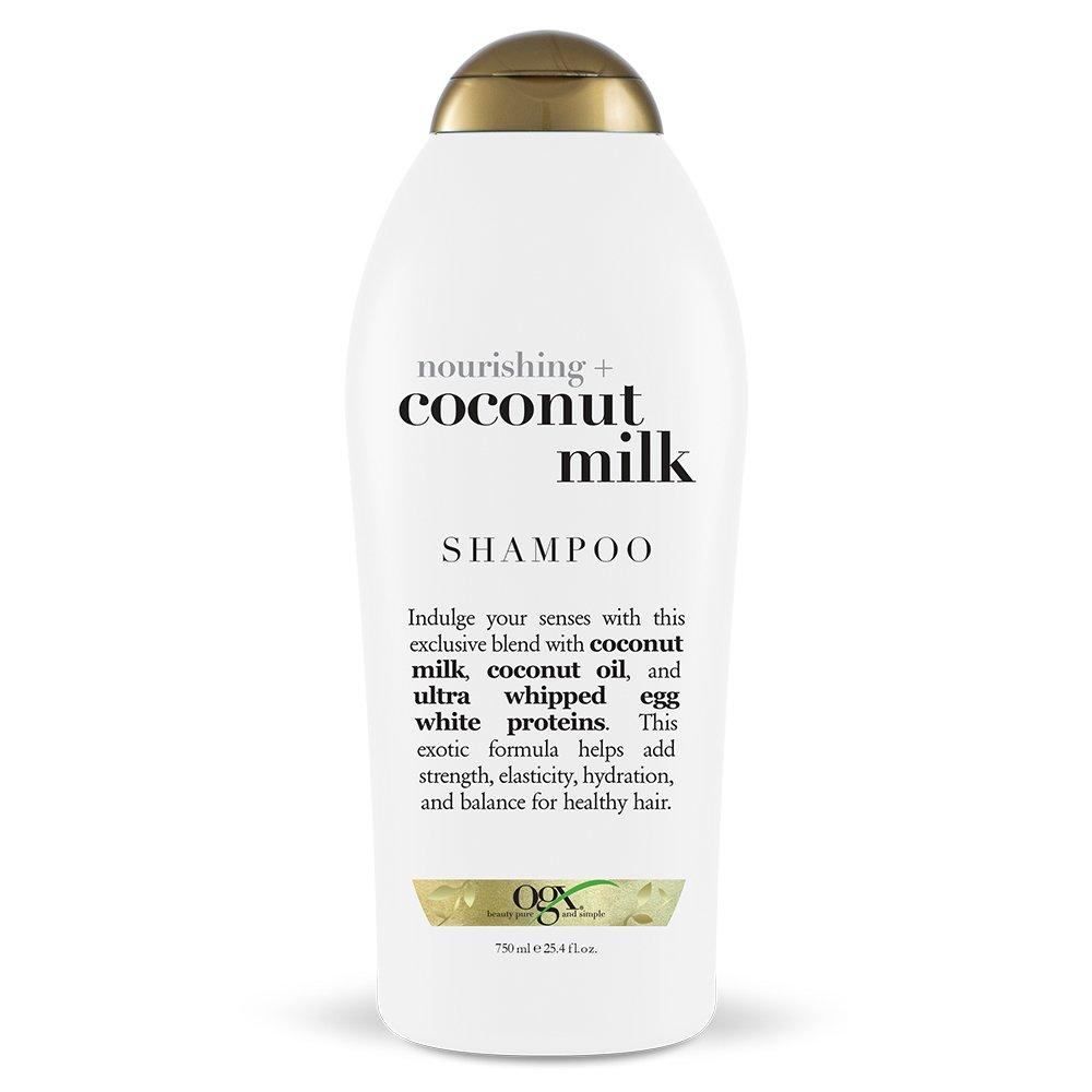 OGX Nourishing Shampoo, Coconut Milk, Salon Size, (1) 25.4 Ounce Bottle, Paraben Free, Sulfate Free, Sustainable Ingredients, Hydrating, Balancing and Strengthening