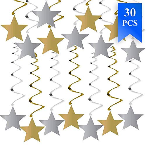 30PCS Star Decorations in Silver & Gold Swirl Graduations Decorations Perfect for Graduation Party Supplies 50th Birthday Decorations Christmas Decorations Wedding Decorations ()