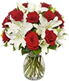 Benchmark Bouquets Roses and Oriental Lilies, With Vase