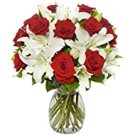 Benchmark Bouquets Red Roses and White Oriental Lilies, With Vase