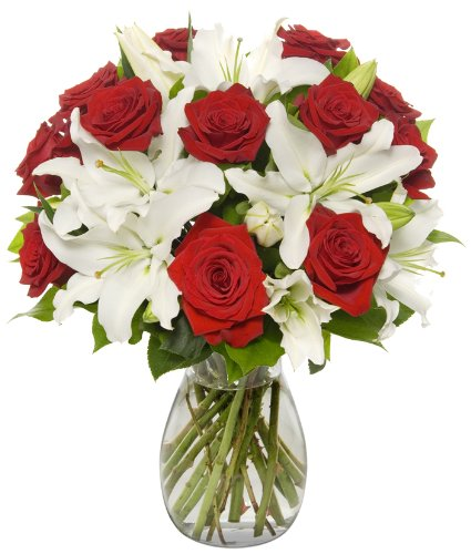 Benchmark Bouquets Red Roses and White Oriental Lilies, With - Flowers Christmas