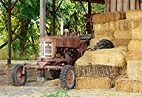 Yeele 10x8ft Farm Old Tractor Background for Photography Rural Barn Haystack Hay Bales Rural Backdrop Countryside Shelter Stack Work Shed Backdrop Kids Adult Photo Booth Shoot Vinyl Studio Props