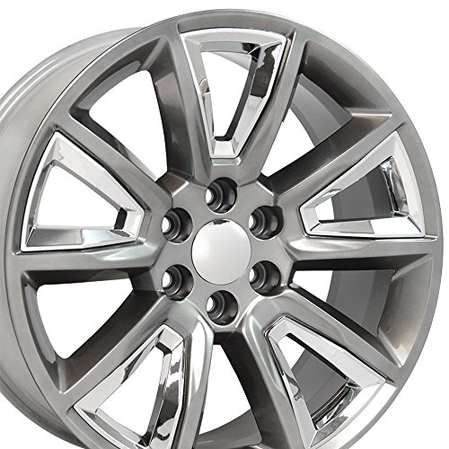 22×9 Wheels Fit GM Trucks – Chevy Tahoe Style Rims Hyper Black w/Chrome Inserts, Hollander 5696 – SET