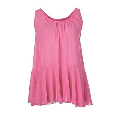c5f6e0719e58 Alluing Cool and Comfortable Womens Plus Size Chiffon Vest Shirt Sleeveless  Blouse Casual Tank Tops T