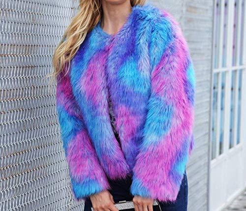 Fashion Winter Tight Short Warm Abito Blau Gradient pelliccia Cappotto Section For Casual Parka Abbigliamento sintetica Wild in Jacket Colour Donna HTwwq7YZ