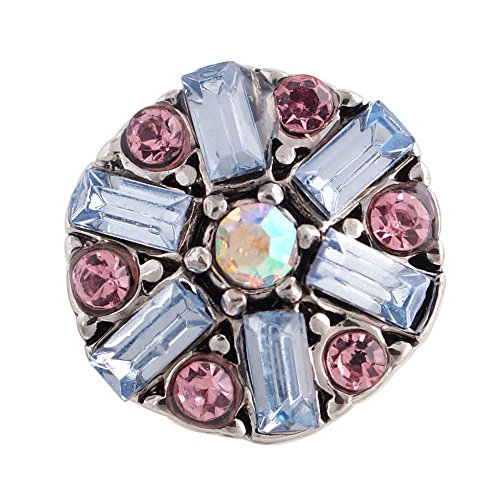 Chunk Snap Charm Blue Crystal Center Orchid Border 12mm 1/2