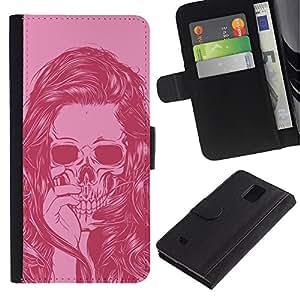 iKiki Tech / Cartera Funda Carcasa - Girl Vignette Pink Art Hair Skull - Samsung Galaxy Note 4 SM-N910