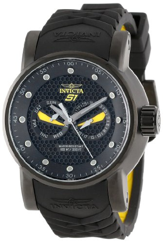 Invicta Men s 12789 S1 Rally Black Textured Dial Black and Yellow Silicone Watch
