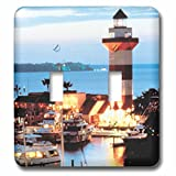 Sandy Mertens South Carolina - Harbour Town Lighthouse at Hilton Head Island at Dusk - Light Switch Covers - double toggle switch (lsp_61725_2)