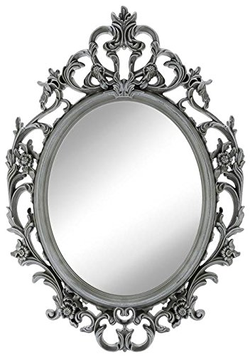Angel's Treasure 15.5 Inch Oval Wall Mounted Mirror, Elegant Ornate Vintage Antique Style in Pewter-like Gray Color