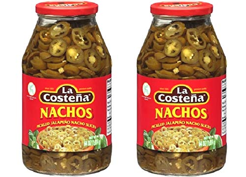 Nachos Jalapeno Peppers Sliced 64 fl Oz/4 lb. Kosher, Spicy- PK of 2 Glass Jars (La Costena Jalapeno)