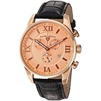 Swiss Legend Men's 'Bellezza' Swiss Quartz Stainless Steel and Leather Casual Watch, Color:Black (Model: 22011-RG-09-RA-BLK)