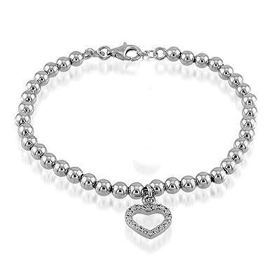 f813a023130 In Timing Bijoux Bracelet Argent Sterling 925 à billes 4 mm avec pendentif  coeur zirconium