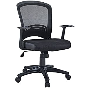 Leo Task Black Mesh Office Chair with Height Adjustable Mesh Fabric Seat
