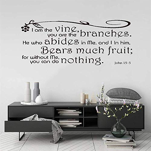 lupaue Wall Art Stickers Quotes and Sayings I Am The Vine You are The Branches He Who Abides in Me and in Him Bears Much Fruit for Living Room Bedroom Home Decor -