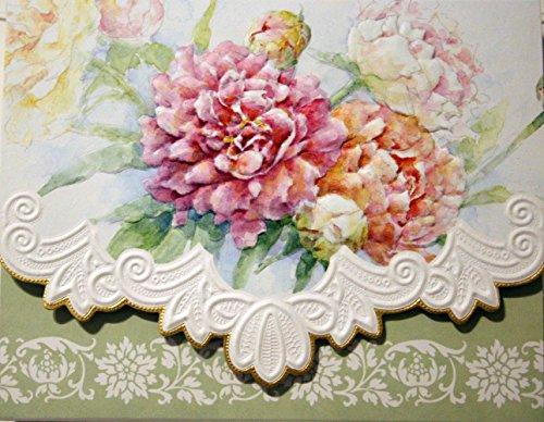 Carol's Rose Garden Peony Mix Blank 10 Card Set Portfolio - Garden Peonies