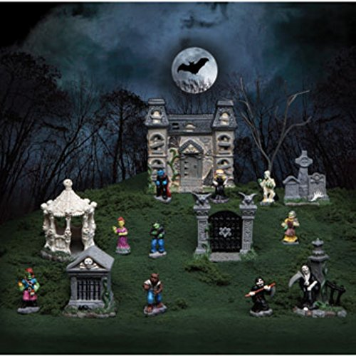 Tombstone Corners Mini Halloween Village Sets, 16 Pc. Polyresin Figurines (Gazebo, Graves, Gate, Grim Reaper, and (Halloween Village Sets)