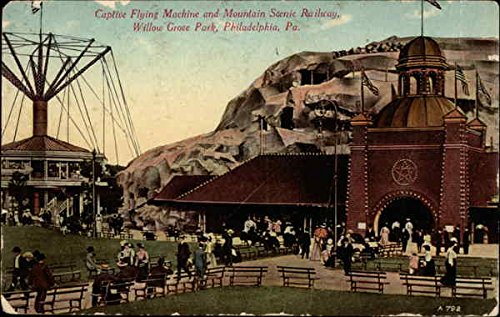 Captive Flying Machine and Mountain Scenic Railway, Willow Grove Park Original Vintage Postcard