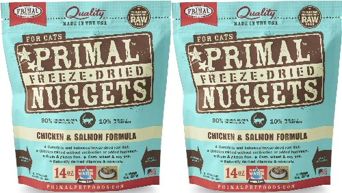 Primal Freeze-Dried Nuggets Chicken & Salmon Formula for Cats 28oz (2 x 14oz)