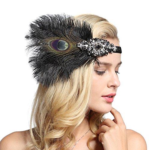 FAIRY COUPLE Black Peacock Feathers Silver 20s Headpiece Vintage 1920s Headband