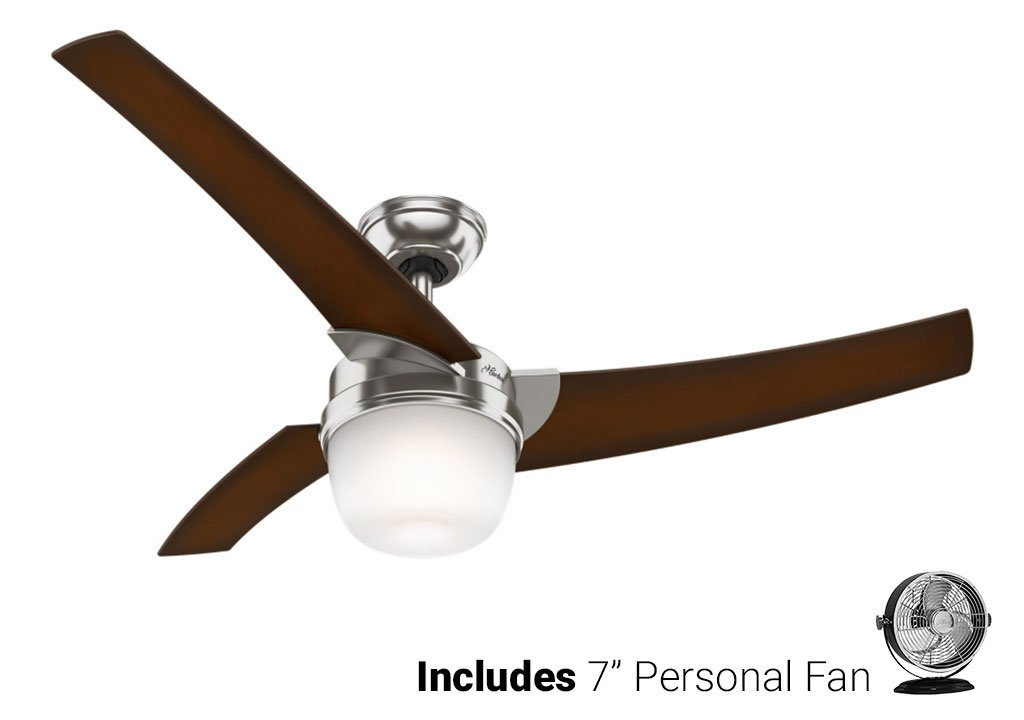Hunter Ceiling Fan Silver 59054 Eurus 54'' with Light & Remote, Brushed Nickel (Desk Fan Included)